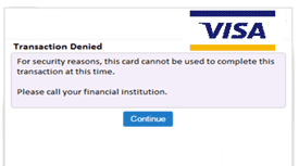 VISA Denied Transaction Graphic